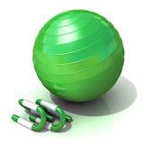 Grüne Eignungsball- und -Liegestützstangen Stockbild