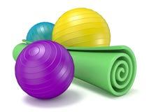 Grüne Eignungsmatte und pilates Ball 3d Lizenzfreie Stockbilder