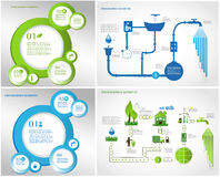 Grüne Energie, Ökologieinformations-Grafiksammlung Stockbilder