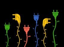 Grüne Energie Elektrischer Stecker mit Blättern auf Schwarzem Lizenzfreies Stockfoto
