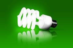 Grüne Energie - energiesparende Glühlampe Lizenzfreies Stockfoto
