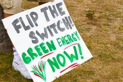 Grüne Energie-Now- Protest Stockbild