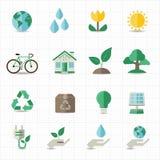 Grüne Energieikonen Lizenzfreie Stockfotos