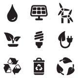 Grüne Energieikonen Lizenzfreies Stockfoto