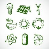 Grüne Energieskizzenikonen Lizenzfreies Stockfoto