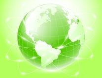 Grüne Erde mit Satelliten Lizenzfreie Stockfotos