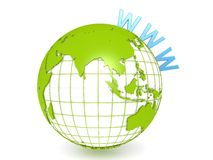 Grüne Erde mit WWW Stockbilder