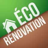Grüne Erneuerung auf französisch: éco-rénovation Stockbild