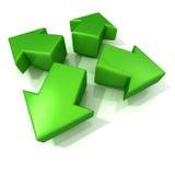 Grüne Erweiterung der Pfeile 3D Front View Stockfoto
