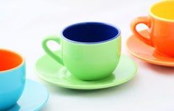 Grüne Espresso-Kaffeetasse Lizenzfreie Stockbilder