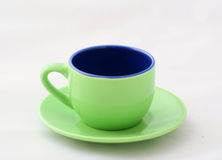 Grüne Espresso-Kaffeetassen Stockbilder
