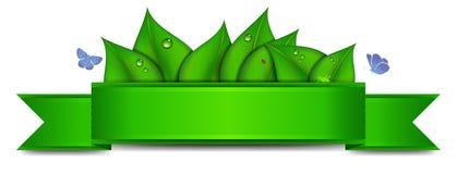 Grüne Fahne mit Kopien-Raum Stockfotos