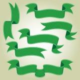 Grüne Fahnen oder Bänder eingestellt Stockfotos