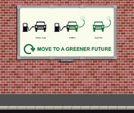 Grüne Fahrzeugmeldung Stockfotos