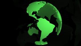 Grüne Farbe der Weltkarte stock footage
