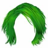 Grüne Farben der modischen Haare der Frau ungepflegten Schönheitsmode stock abbildung