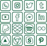 Grüne farbige Social Media-Ikonen für Weihnachten lizenzfreie abbildung