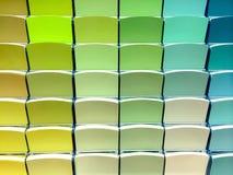 Grüne Farbmuster in einem Speicher Stockfoto