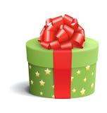 Grüne Feier-Geschenkbox mit rotem Bogen auf Weiß stock abbildung