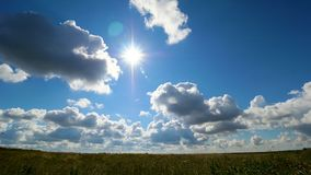 Grüne Feldsommerlandschaft, timelapse Wolken und Feld des blauen Himmels Stockfotografie