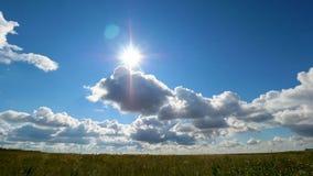 Grüne Feldsommerlandschaft, timelapse Wolken und Feld des blauen Himmels Stockbild