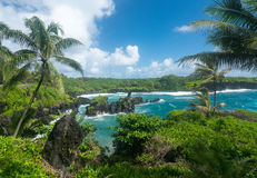 Grüne Felsen bei Waianapanapa auf der Straße zu Hana in Maui Stockfotos