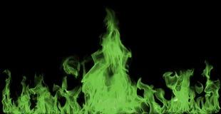 Grüne Feuerflammen stockbilder