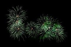 Grüne Feuerwerke stockfoto