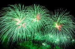 Grüne Feuerwerke 2017 lizenzfreie stockfotografie