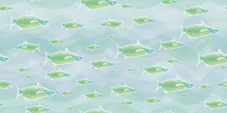 Grüne Fische in der blauen Vektorillustration lizenzfreie abbildung