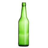 Grüne Flasche getrennt auf dem Weiß Stockfotos