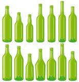 Grüne Flaschen eingestellt Lizenzfreie Stockbilder