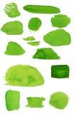 Grüne Flecke des Aquarells stockfotografie