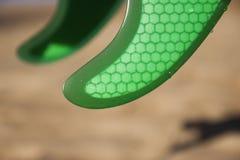 Grüne Flossen auf Strand Stockfoto