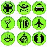 Grüne Flughafenservice-Tasten Stockbilder