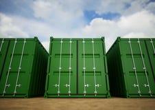 Grüne Frachtbehälter Lizenzfreies Stockbild