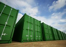Grüne Frachtbehälter Stockfoto