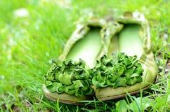 Grüne Frauenschuhe mit Blumen im grünen Gras Lizenzfreies Stockfoto