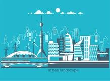 Grüne freundliche Stadt der Energie und des eco Moderne Architektur, Gebäude, Wolkenkratzer Flache Vektorillustration Stockfotos