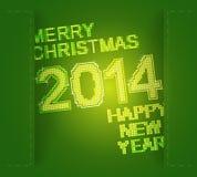 Grüne frohe Weihnachten und neues Jahr Stockbild