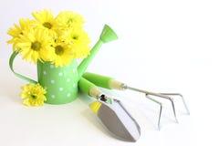 Grüne Gartenarbeit-Hilfsmittel mit gelben Blumen Stockbilder