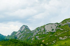 Grüne Gebirgsweiß-Wolke stockbild