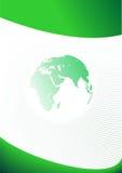 Grüne Geschäftsschablone mit Planeten-Erde Stockfotos