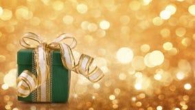 Grüne Geschenkbox Stockbild