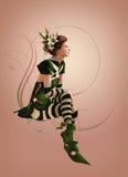 Grüne gestreifte gekleidete Computer-Animation des Mädchen-3d Stockbilder