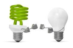 Grüne gewundene kämpfender Glühlampe und weißer Wolfram eine vektor abbildung