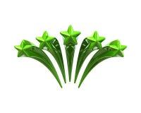 Grüne glänzende fünf Sterne Lizenzfreies Stockbild
