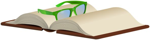Grüne Gläser auf geöffnetem Buch Lizenzfreie Abbildung