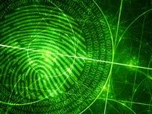Grüne glühende Fibonacci-Kreise mit digitalem Fingerabdruck Stockbilder