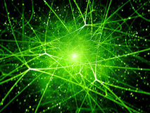 Grüne glühende Network Connections im Raum Lizenzfreie Stockbilder